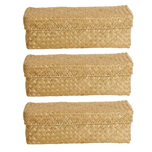 Wald Imports Natural Seagrass-Reed Box (Set of 3)