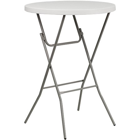 Advantage 32 in. Round Bar Height White Plastic Folding Table ()
