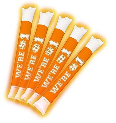 Brite Boltz - Mr & Mrs Married Inflatable Color Changing Light Up Bang Bang Spirit Sticks - Wedding and Party Cheering Sticks 5 Pack