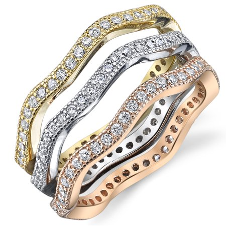 - Sterling Silver Tri-Color Stackable Set of 3 Eternity Rings Bands with Cubic Zirconia