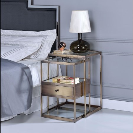 Stylish Nesting Tables Set, Clear Glass & Brass, 2 Piece Pack ()