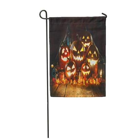 KDAGR Blue Halloween Pumpkin Head Jack Lantern Burning Candles Orange Garden Flag Decorative Flag House Banner 12x18 inch