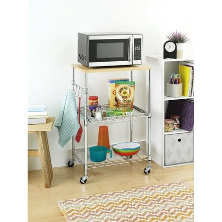Whitmor Supreme Kitchen Storage Microwave Cart - Wood & Chrome
