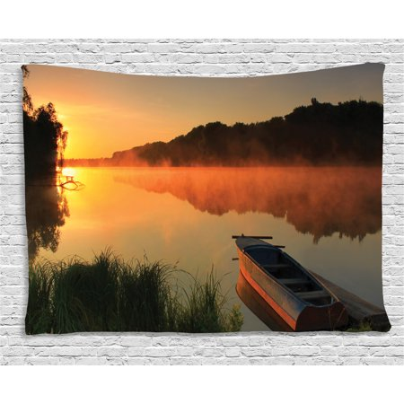Lake Tapestry, Boat on the Shore of a Misty Lake on a Summer Morning Fishing Theme, Wall Hanging for Bedroom Living Room Dorm Decor, 60W X 40L Inches, Orange Dark - Fishing Themed Wedding