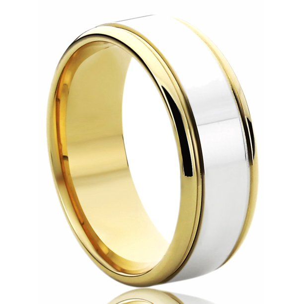 14K Yellow Gold & White Gold Wedding Band 7mm Flat Top Classy Comfort Fit Ring
