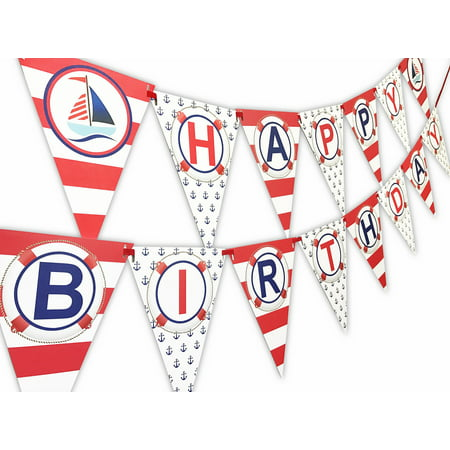 Custom Made Banners (Nautical RED Happy Birthday Banner Pennant - Sailboat Party Banner - Made in the)