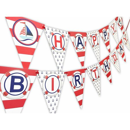 Nautical RED Happy Birthday Banner Pennant - Sailboat Party Banner - Made in the USA (Nautical Themed Birthday Party)