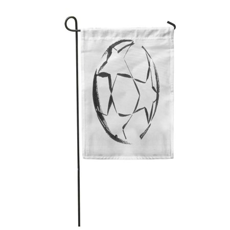 LADDKE Watercolor Abstract Black Ink Soccer Ball Stars Activity White Champions Garden Flag Decorative Flag House Banner 12x18 (Flag With Stars And Black And White Stripes)