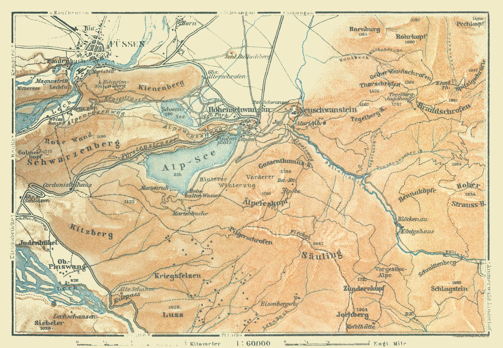 Map Of Germany In 1914.International Map Fussen Region Germany Baedeker 1914 33 29 X 23