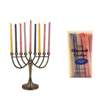 Treasure Co Trio Menorah Candle Holder with Chanukah Candles (7 in) Metal