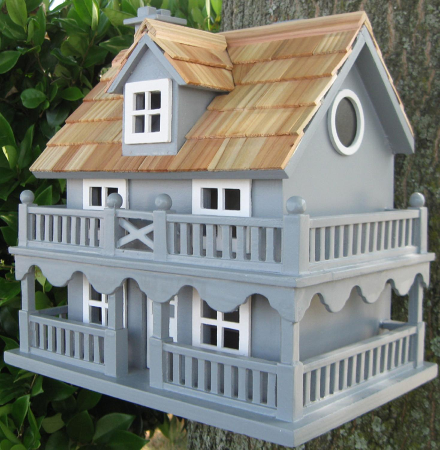 "10.75"" Fully Functional Blue New England Cottage Outdoor Garden Birdhouse by Bird Houses"
