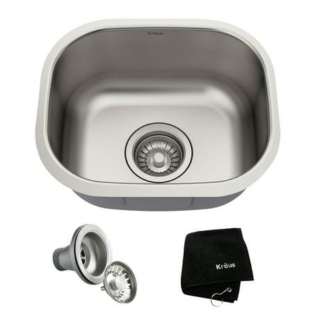 KRAUS Premier 15-inch 18 Gauge Undermount Single Bowl Stainless Steel Kitchen Bar Sink
