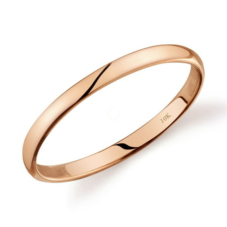 10k Yellow White or Rose Gold Comfort Fit 2mm Plain Wedding Band Plain Comfort Fit Wedding Band