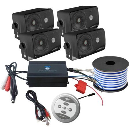 "Bluetooth Marine 1200 Watt 4-Channel Amplifier w/ 4 x 3.5"" 200 Watt 3-Way Weather Proof Mini Box Speakers & 18 Gauge 50 FT Stereo Marine Grade Speaker Wire"