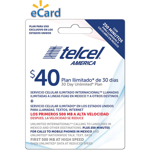TelCel Unlimited International Long Distance Talk, Text and Data, 500MB at 4G, 250 Min Mex Cell $40 (Email Delivery)