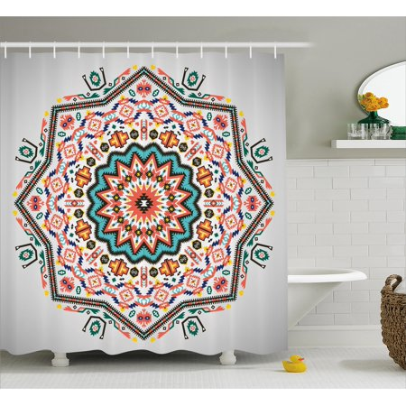 Tribal Shower Curtain, Abstract Aztec Style Kaleidoscope Themed Boho Ethnic Sun Pattern Art Print, Fabric Bathroom Set with Hooks, Coral Turquoise, by Ambesonne (Aztec Art)