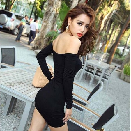 Women Sexy Off Shoulder Long Sleeve Basic Club Mini Bodycon Dress