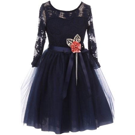 Little Girls Elegant Rose Floral Lace Illusion Top Satin Belt Flower Girl Dress Navy Blue 4 (2J0K9S8) - Navy Blue Dress Girl