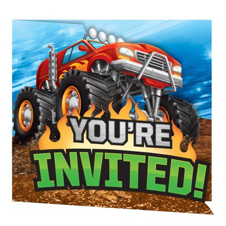 Creative Converting Monster Truck Rally Invitation Gatefold, 8 ct](Creative Halloween Invitations)
