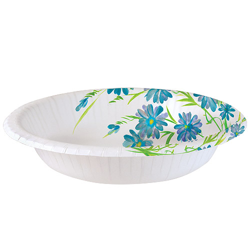 Nicole Home Collection Everyday Floral Paper Bowls, 20 Oz, Blue Floral, 24 Ct