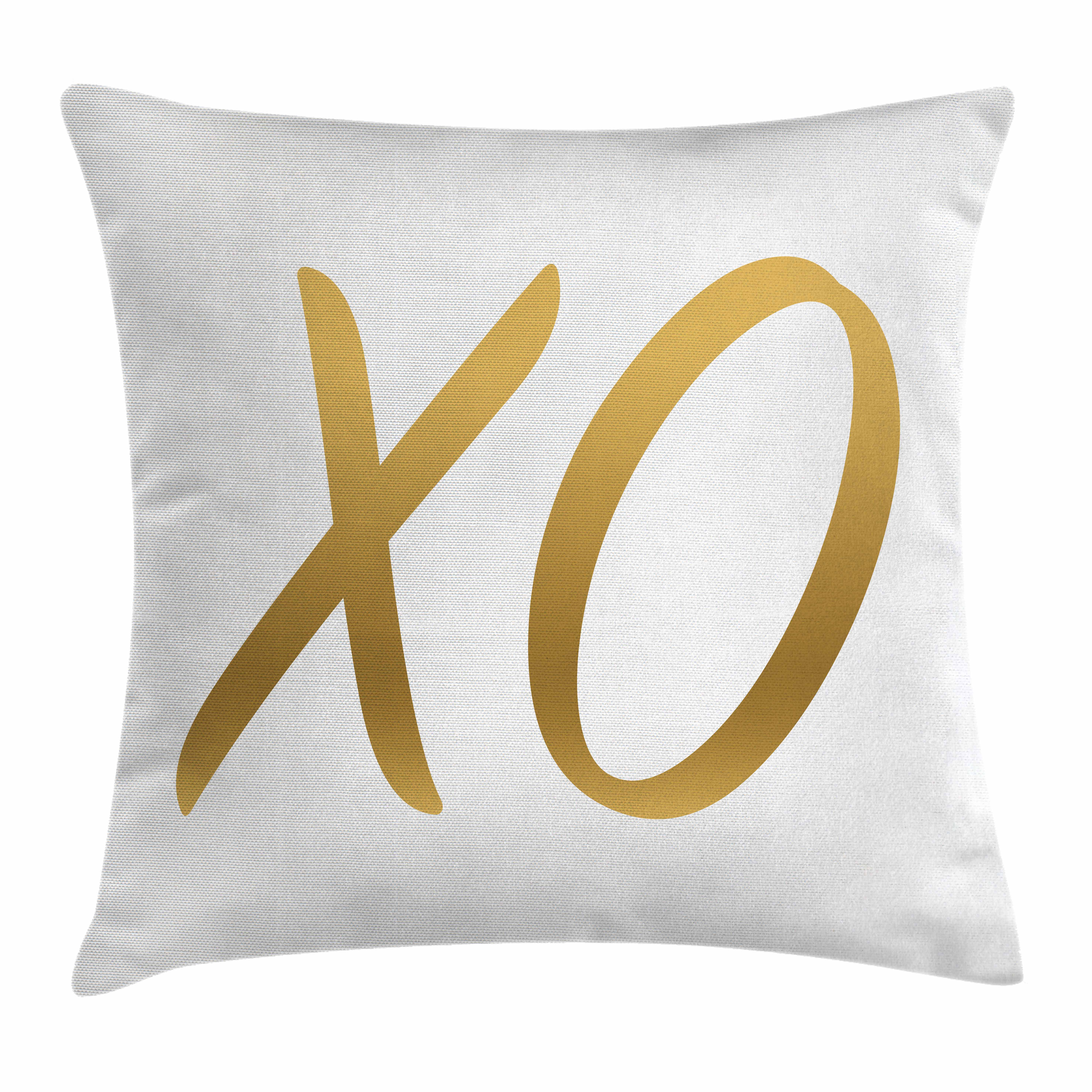 Xo Decor Throw Pillow Cushion Cover, Love Affection Happy Joyful Good Friendship Romance Sign Letters Artistic Design, Decorative Square Accent Pillow Case, 24 X 24 Inches, Gold White, by Ambesonne