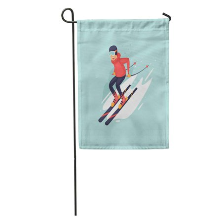 POGLIP Skier Young Man Riding on Skis Snow Winter Flat Garden Flag Decorative Flag House Banner 28x40 inch - image 1 of 2