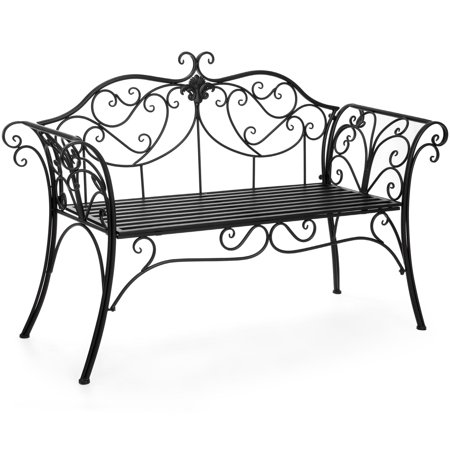 Best Choice Products 52in 2-Person Decorative Metal Iron Patio Garden Bench Outdoor Furniture for Front Porch, Backyard, Balcony, Deck w/ Elegant Scroll Details, Rolled Armrests - Black