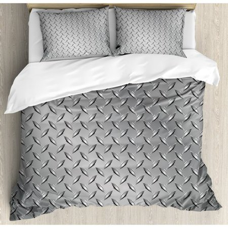 Ambesonne Cross Wire Fence Netting Display with Diamond Plate Effects Chrome Kitsch Motif Duvet Cover Set