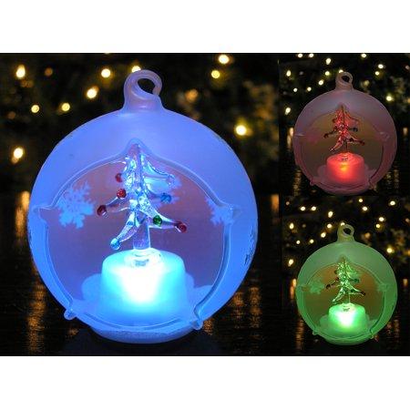 LED Glass Globe Christmas Tree Ornament with Tree Inside - Tree Ornaments