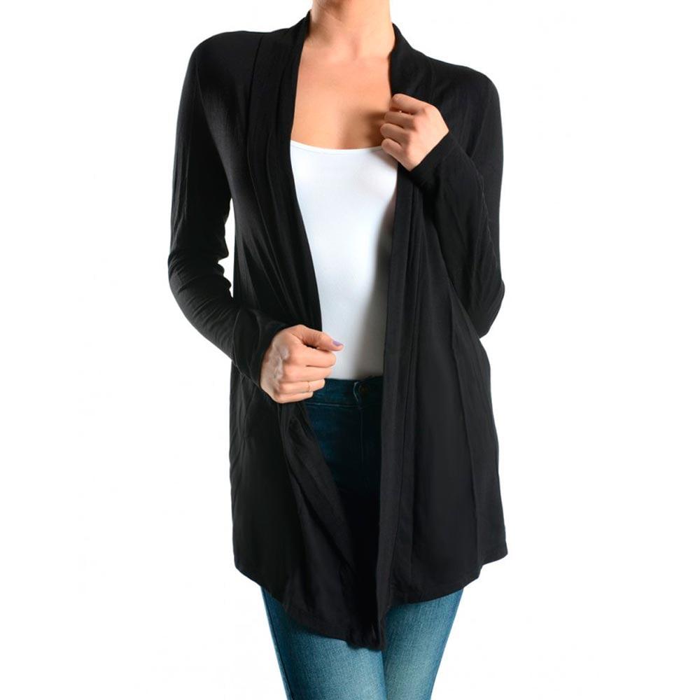 Womens Cardigan Sweater Long Sleeve Top Casual Solid Open Front Jacket Sz S M L by UNIHOSIERY