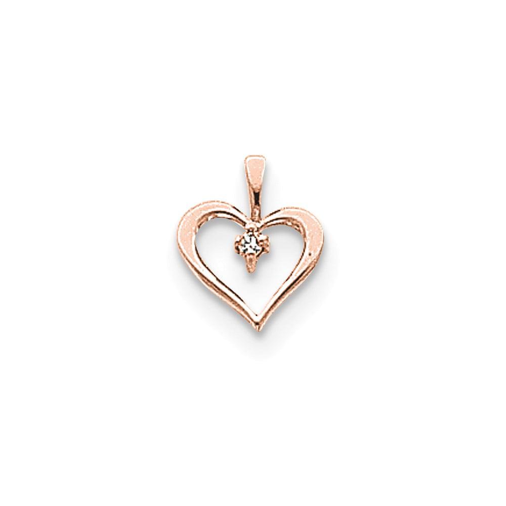 14k Rose Gold AA Diamond heart pendant