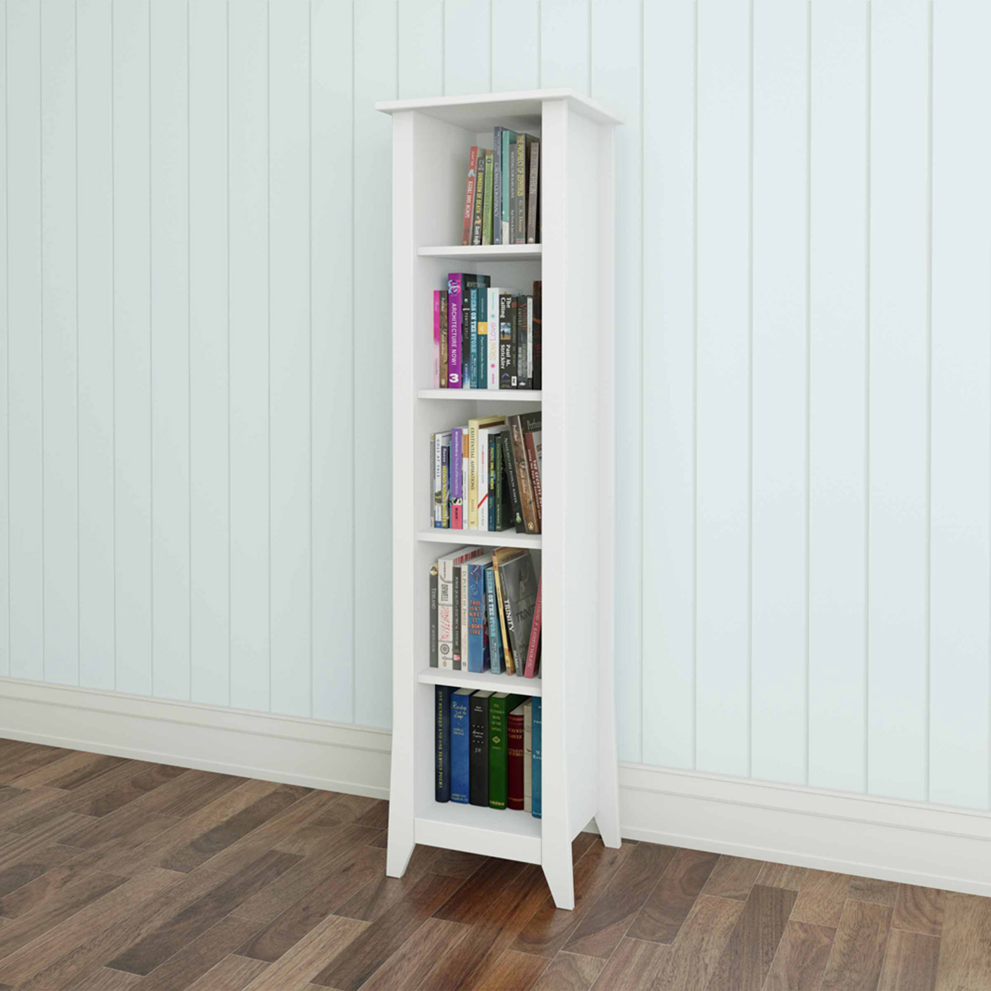 Vice Versa 5-Shelf Bookcase, White