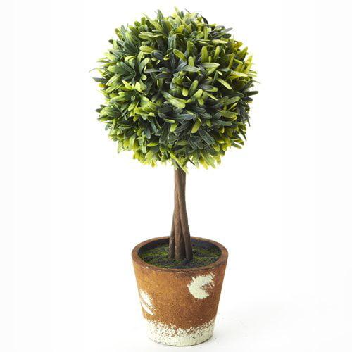 Fleur De Lis Living Artificial Mini Tree Boxwood Topiary in Planter (Set of 12)