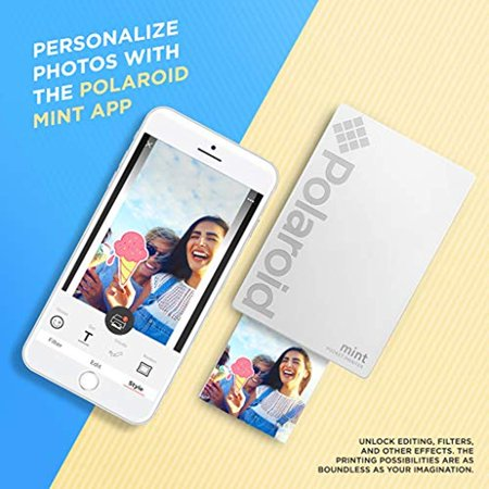 Polaroid Mint Pocket Instant Printer (White) All-in-Bundle + Paper (20 Sheets) + Deluxe Pouch + Photo Album + 9 Unique Sticker Sets + Markers + Scissors + Border Stickers and So Much More - image 1 de 4