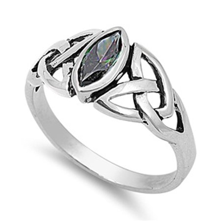CHOOSE YOUR COLOR Sterling Silver Rainbow Simulated Topaz Ring Irish Celtic Knot Design (Celtic Knot Design Ring)