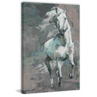 "Parvez Taj ""Running White Horse"" Painting Print on Wrapped Canvas"