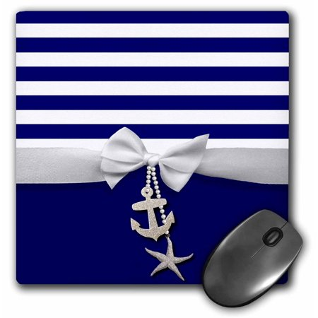 3dRose Nautical navy blue and white stripes - 2D ribbon bow graphic and printed anchor and starfish charms, Mouse Pad, 8 by 8 inches](Nautical Ribbon)
