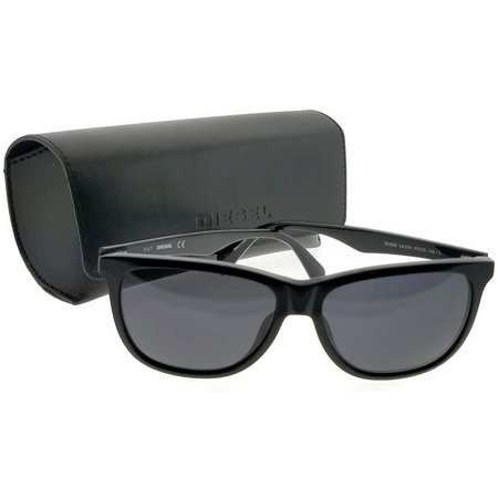 Diesel DL0222-01A-57 Square Unisex Black Frame Grey Lens Genuine Sunglasses NWT