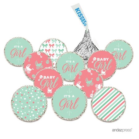 Baby Shower Mints (Chocolate Drop Labels, Fits Hershey's Kisses, Ultimate Girl Baby Shower Collection, Coral and Mint Green,)