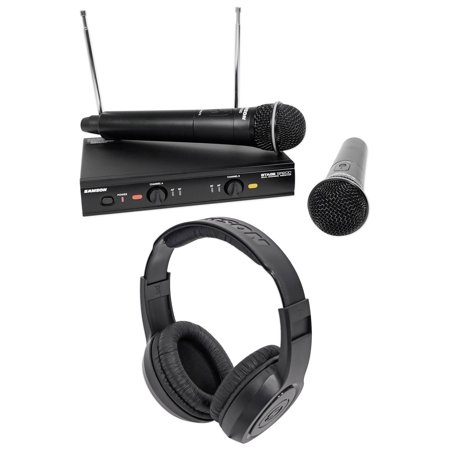 SAMSON Stage 200 Dual VHF Handheld Wireless Microphones+Headphones - D (Samson Stage V466 Quad Vocal Wireless System Review)