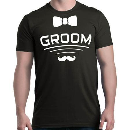 Shop4Ever Men's Groom Bow Tie Mustache Wedding Graphic T-shirt ()