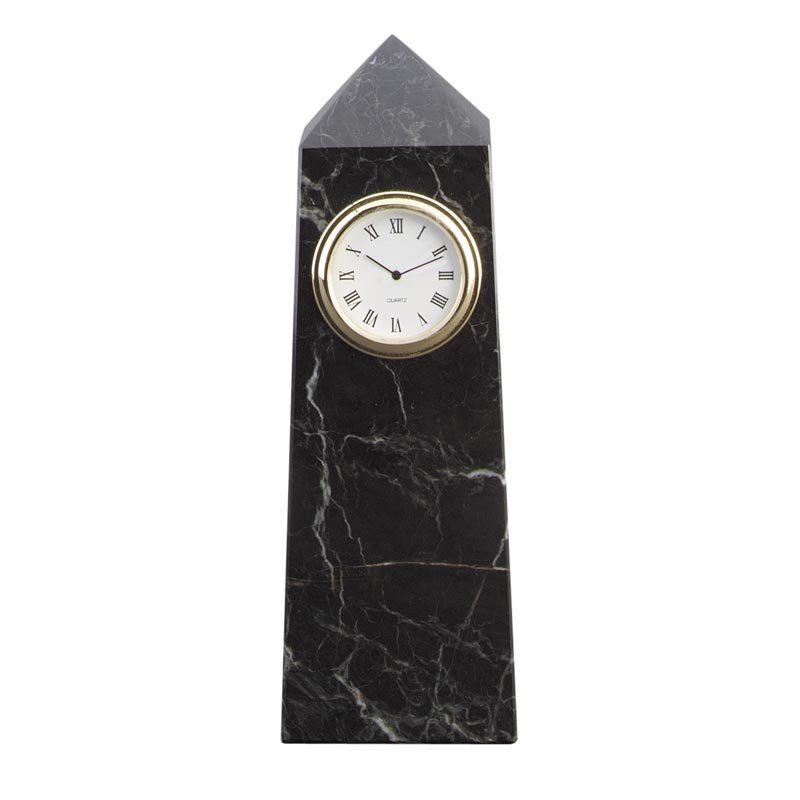 Black Zebra Marble Obelisk Desktop Clock by N and R International Inc