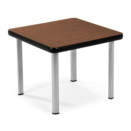 ET2020-MHGY-SLG Home furniture Europa series 20 In x 20 In SILVER Steel Frame Marproof MAHOGANY laminated top Square End