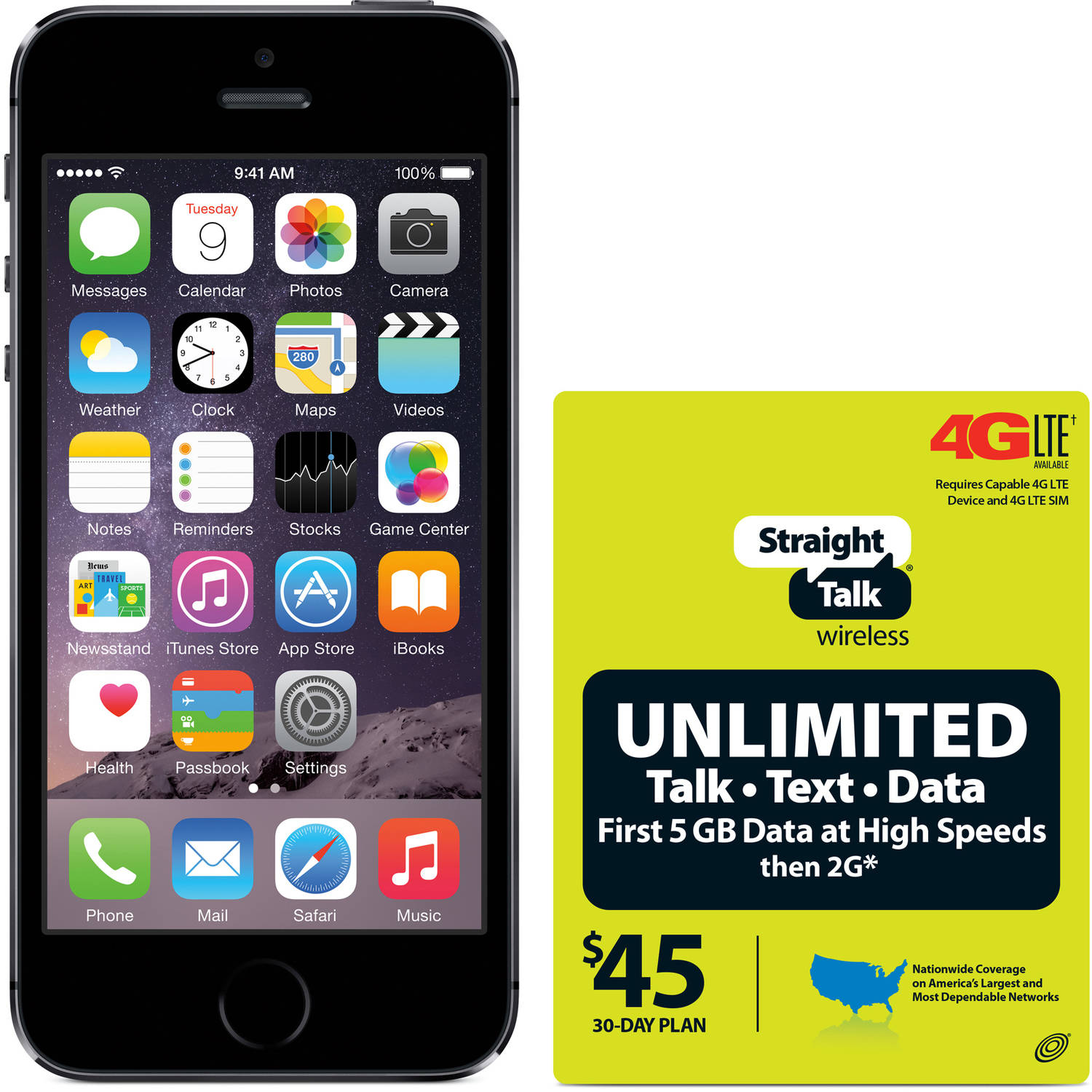 Straight Talk Apple iPhone 5S 16GB 4G LTE Refurbished Prepaid Smartphone w/ Bonus $45 Service Plan
