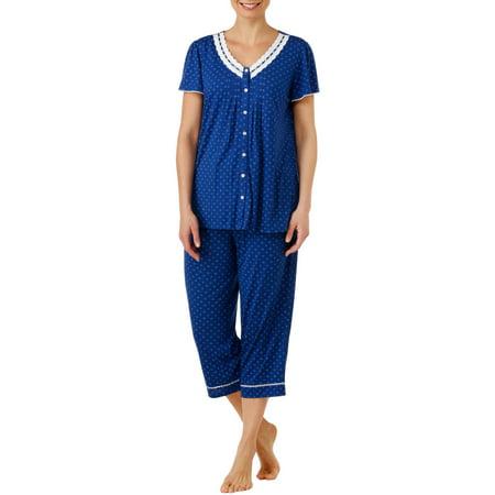 Secret Treasures Women's and Women's Plus Traditional Pajama Short Sleeve V-Neck Top and Capri Pant 2 Piece Sleepwear Set