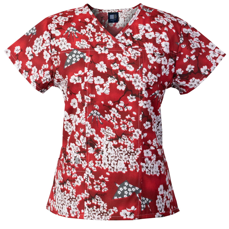 Medgear Womens Printed Scrub Top, ID loop & 4 Pockets Fashion Medical Uniform 1039P-SHRE