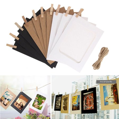 10x DIY Flim Hanging Wall Picture Paper Photo Album Kraft Frame+Rope+Clips Sets MZ](Diy Photo Wall)