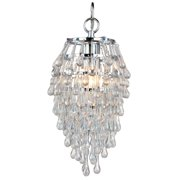 """AF Lighting 4950-1H Elements Series """"Crystal Teardrop"""" Chandelier with Clear Drop Glass Accents, Finished in Polished Chrome"""