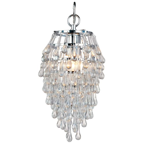 "AF Lighting 4950-1H Elements Series ""Crystal Teardrop"" Chandelier with Clear Drop Glass Accents, Finished in Polished Chrome"