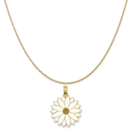 Enamel Flower Daisy - 14k Yellow Gold Enameled White Daisy Flower Pendant on 14K Yellow Gold Rope Chain Necklace, 18